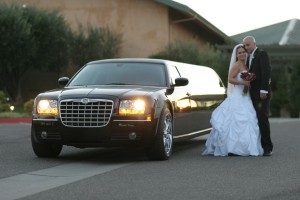 limousine bride and groom