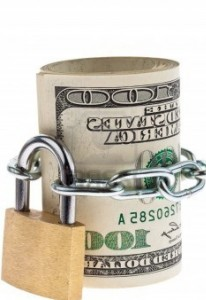 roll of money with padlock
