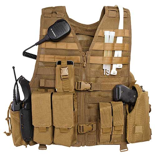 tactical gear vest with equipment
