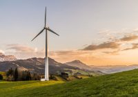 wind turbine on a hill